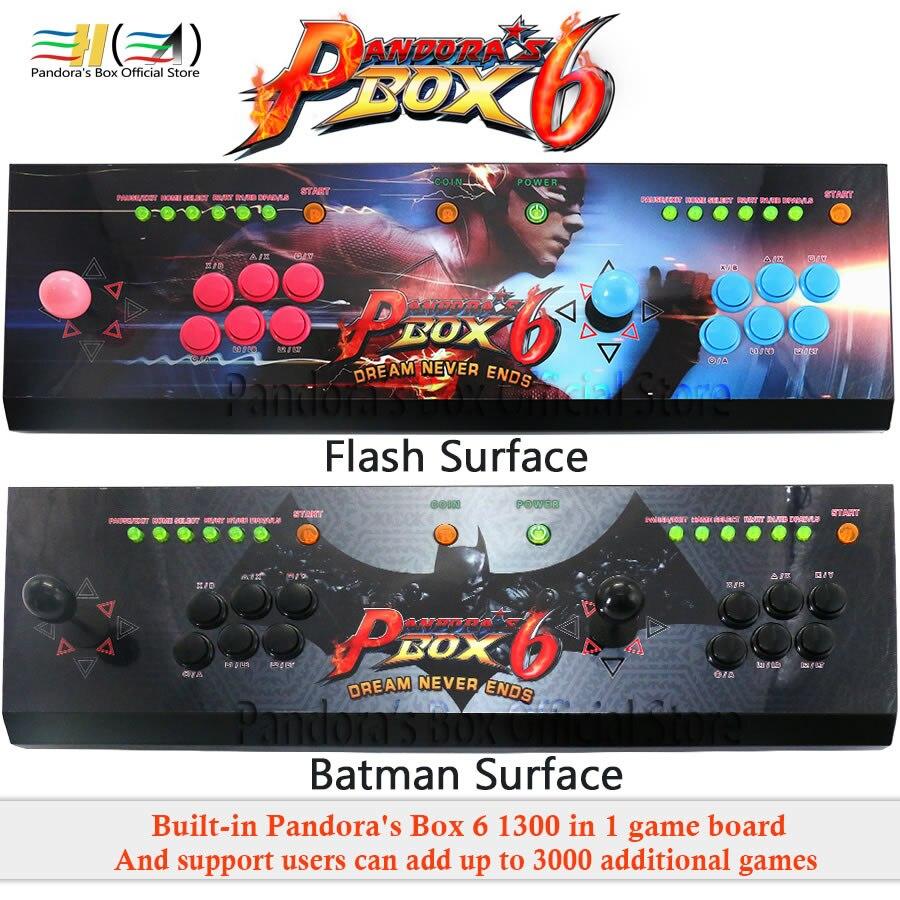 Pandora box 6 1300 dans 1 jeu d'arcade console kit arcade 2 joueurs Peut ajouter 3000 jeux HDMI VGA usb joystick pour pc jeu vidéo ps3