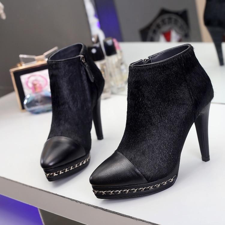 Nouvelle Zipper Chaud Arrivée Bout Chaussures forme Femmes Bottes Show Mujer Courte De Rond Cheville Dames Meatl Plate As Show Zapatos Botines as FSF7xanw