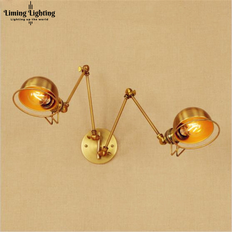 2 Head Copper Swing Long Arm LED Wall Light Fixture Wandlamp Retro Loft Industrial Wall Lamp Vintage Edison Sconce Lampara Pared long swing arm retro vintage wall light fixtures edison rustic loft style industrial lamp wall sconce wandlampen lampara pared