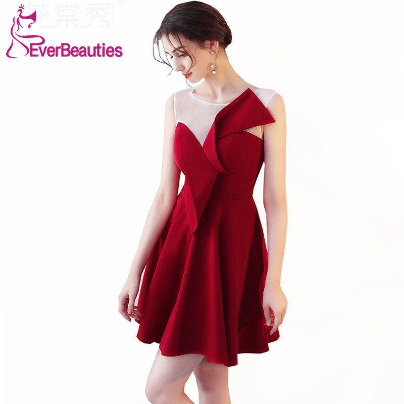 Wine Red Robe De   Cocktail   Short   Cocktail     Dresses   2019 Women's Prom Party   Dresses   Homecoming   Dresses