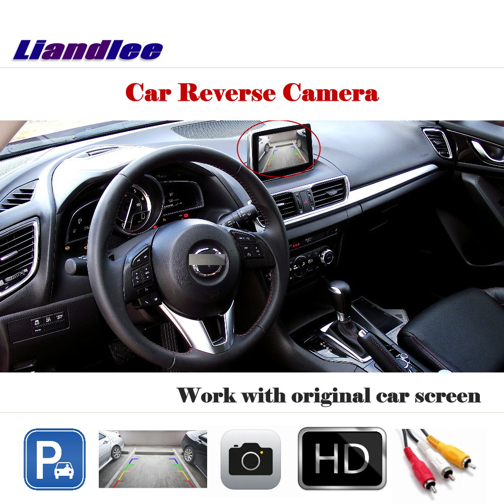 Liandlee Auto Reverse Parking Camera For Mazda 3 Axela BM Sedan 2013~2016 / Rear Camera Back Work with Car Factory Screen комплект адаптеров mazda 3 sedan 2013
