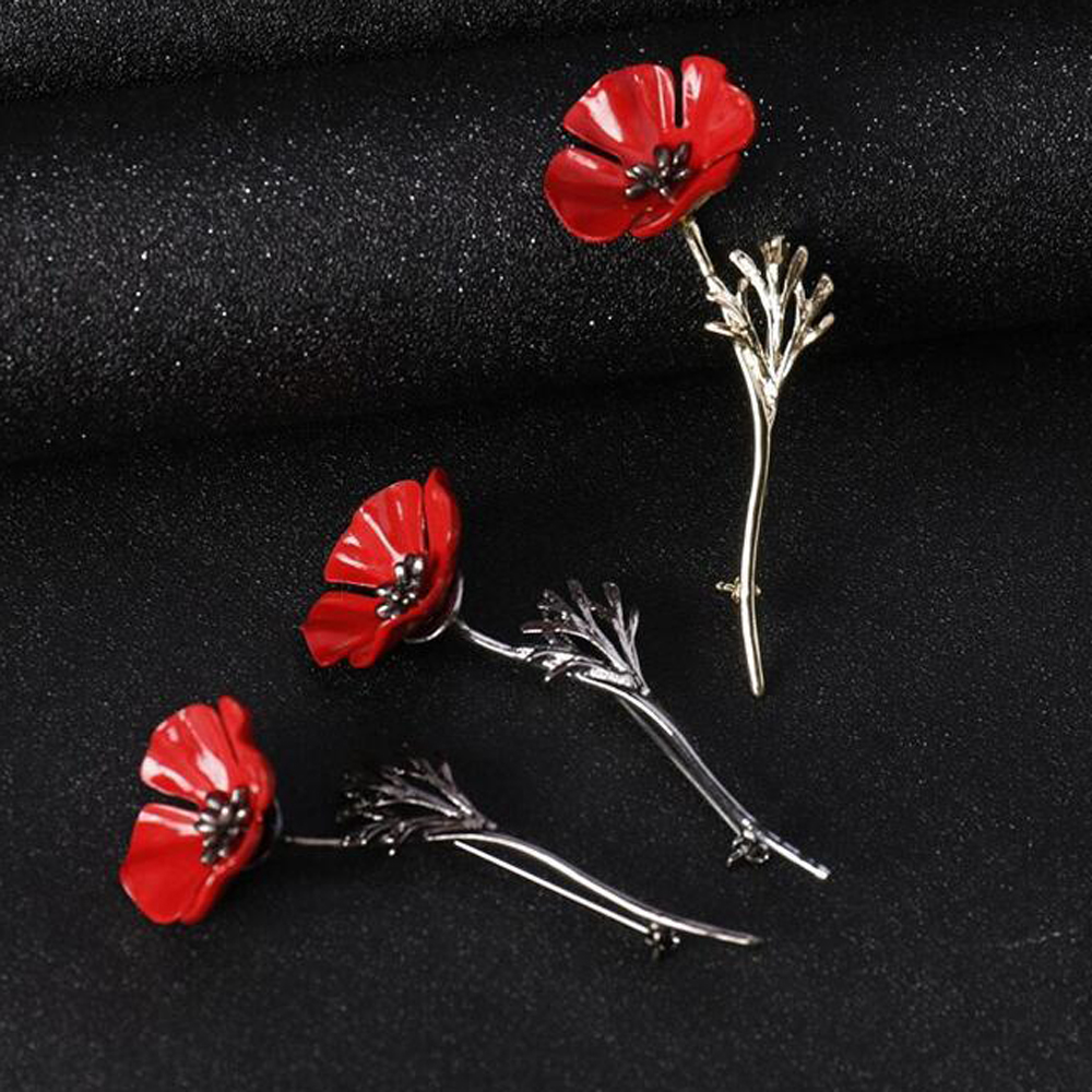 Red Poppy Lapel Pin Remembrance Day Flower Enamel Accessory Badge