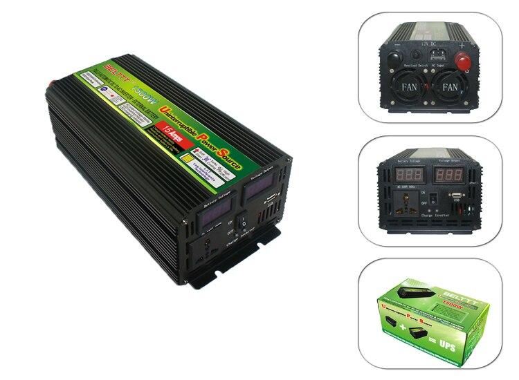 Livraison gratuite coût DC24V à AC 220 v 1500 Watt UPS Onduleur Avec AC Chargeur LCD Affichage
