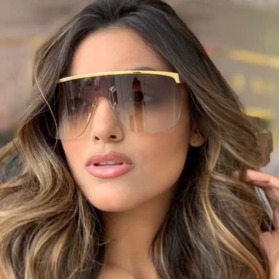 COOLSIR Oversize Half Frame Gradient Sunglasses Women Cover One Piece Goggle Shades Men