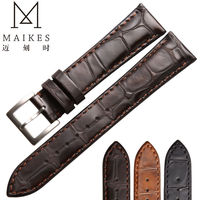 MAIKES High Quality Genuine Leather Watch Strap Stainless Steel Buckle For Brown Men Women Watch Band
