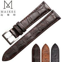 купить MAIKES High Quality Genuine Leather Watch Strap Stainless Steel Buckle For Brown Men&Women Watch Band по цене 1406.18 рублей