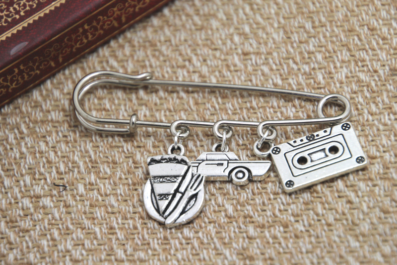 12pcs Supernatural inspired Dean Winchester themed charm kilt pin brooch (38mm)