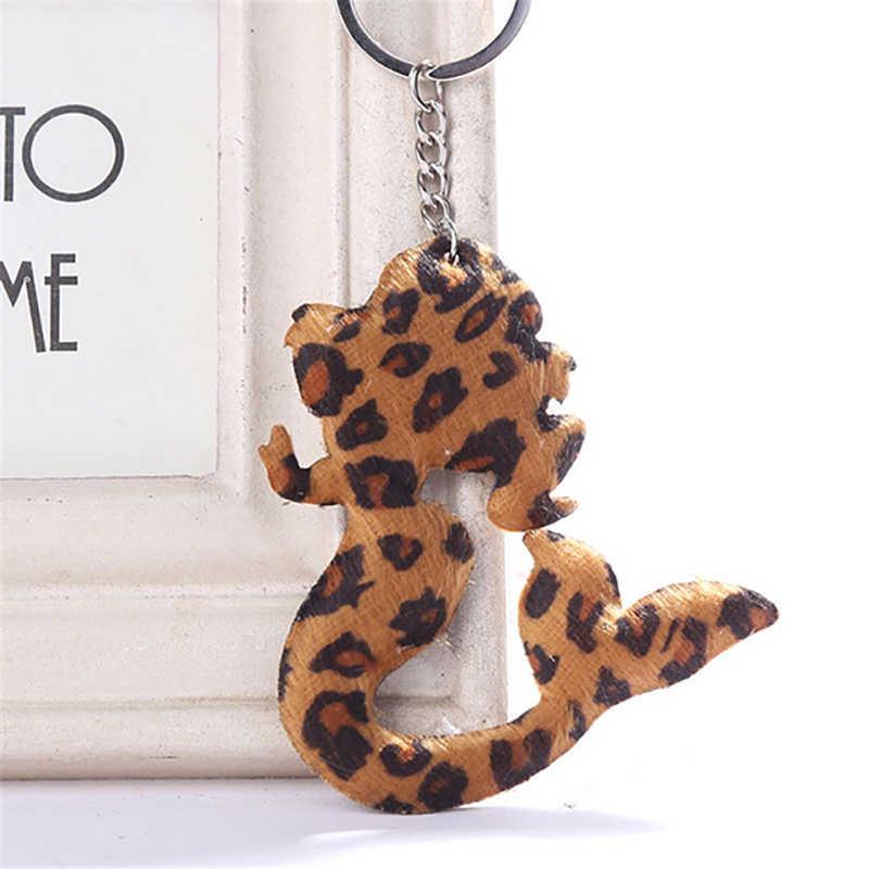 Милый брелок для ключей «русалка» Красочные Леопардовый Подарочная цепочка для ключей для Для женщин llaveros para mujer автомобиль мешок sleutelhanger 2019 ювелирные изделия