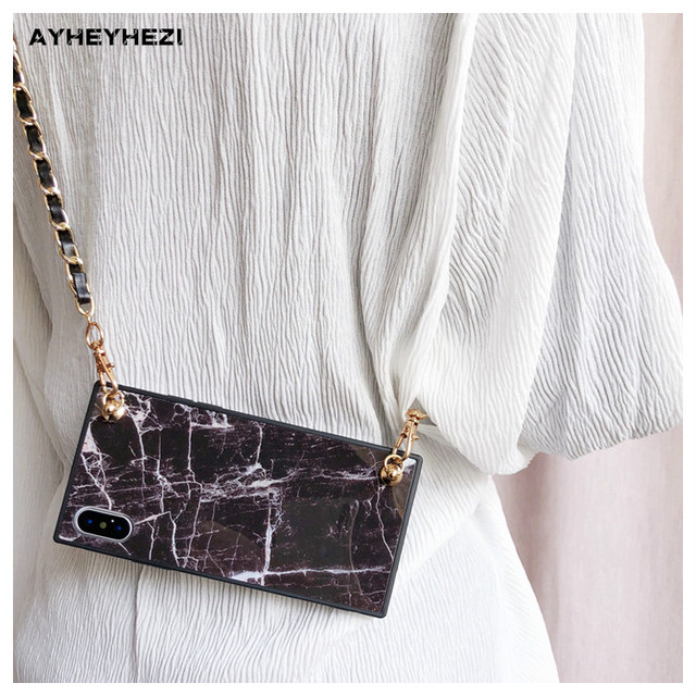 10218939bf3 US $8.86 28% OFF|Granite Marble Cell Phone crossbody Case Cover with long  strap chain For iPhone XS MAX XR X 8 7 6S 6 plus Case Cover Insta good-in  ...