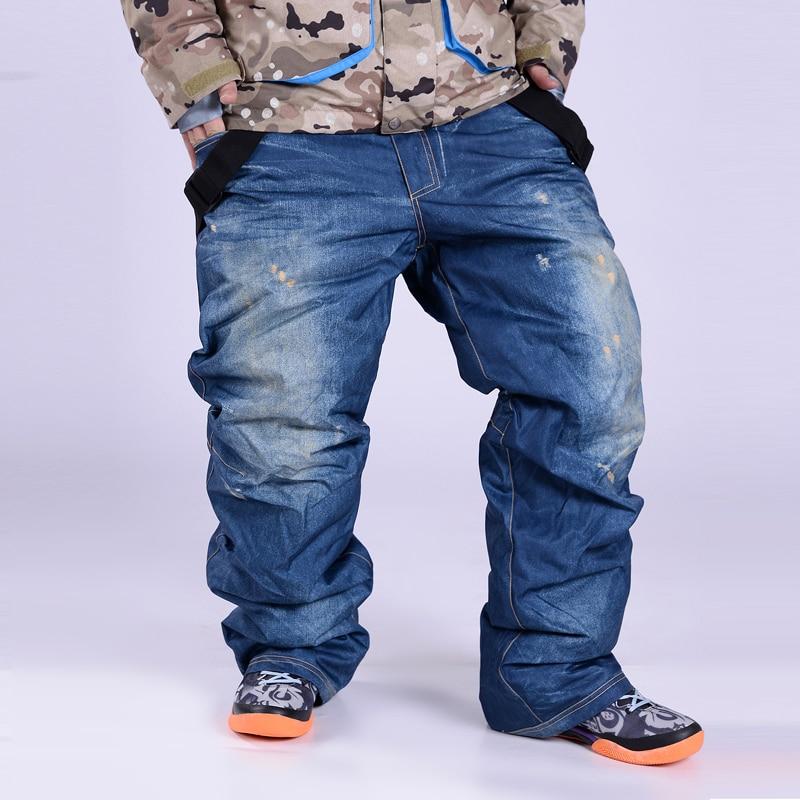 Snowboarding Pants men Denim Skiing pants ski trousers male winter Sportswear Breathable Waterproof windproof WARM denim