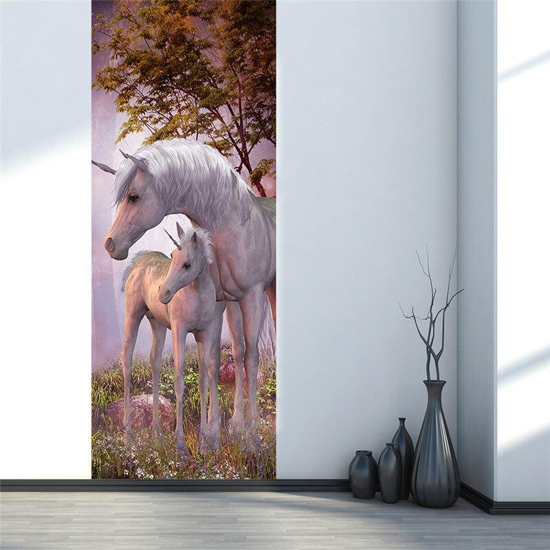 Image 4 - Mystery Animal White Unicorn European Home Decoration 3D Door Stickers The Door Stick Kids Room Art Decal Decoration For Doors-in Door Stickers from Home & Garden
