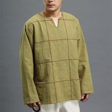Ручной вышивкой линии Чистейшая льняная Национальный стиль Мужская одежда линейки Повседневное осень-зима футболка D317