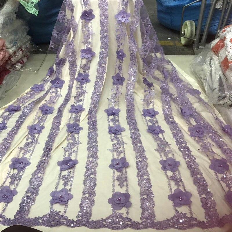 Meest Populaire Hoge Kwaliteit Party Dress Kralen Kant 5 Yards Afrikaanse 3D Kant Stof Goud Nigeria Franse Tulle Net Kant stof H1360-in Kant van Huis & Tuin op  Groep 3