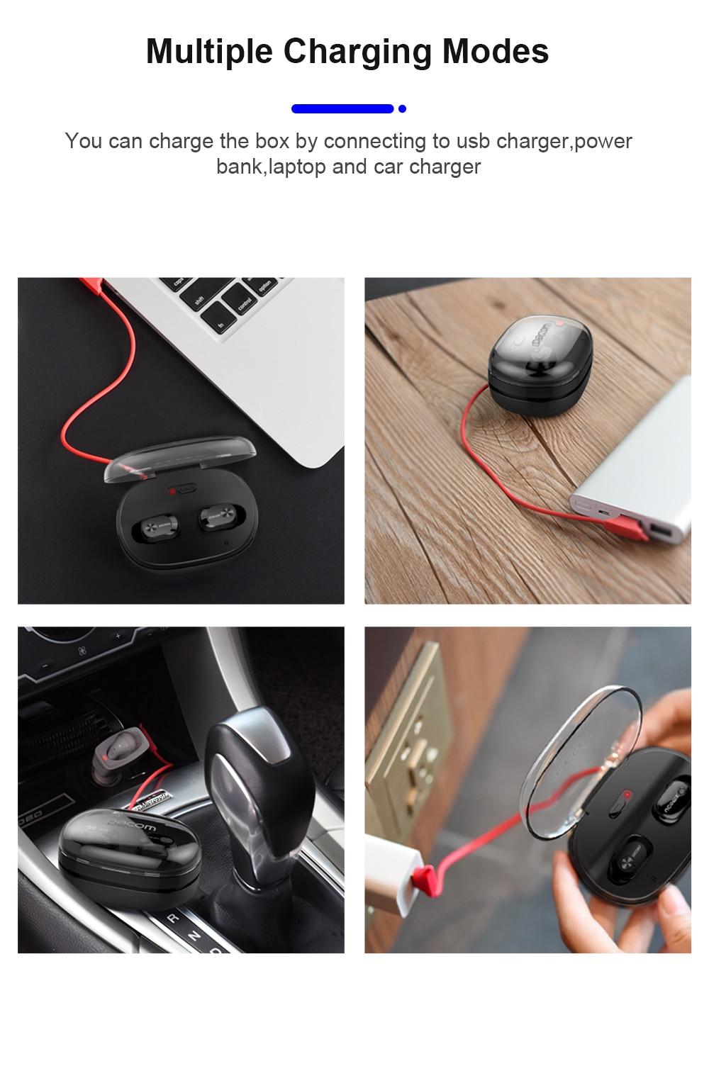 bluetooth earphone with multi charging methods | cornmi