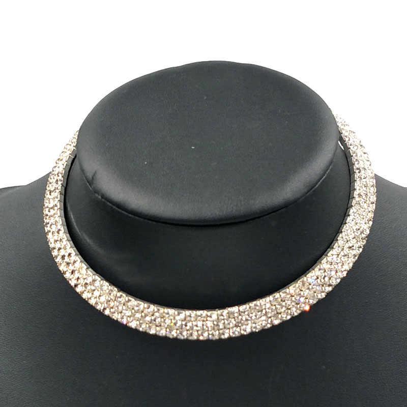 Mô-men xoắn trang sức set rhinestone cristal pha lê trang sức set choker đồ trang sức vòng cổ bijoux cristal wedding choker đồ trang sức