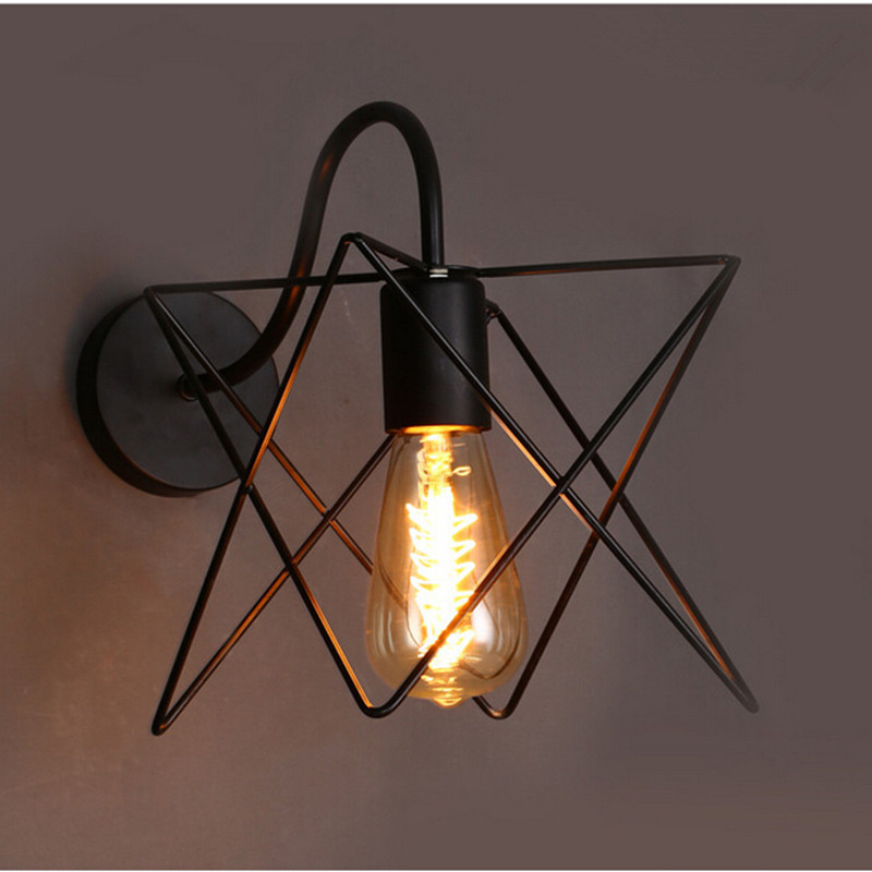 Modern Country Wall Lights : Modern Vintage Loft iron Wall lamps black metal triangle cage lampshade country style wall ...