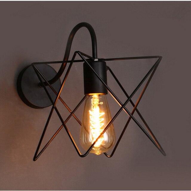 moderne loft vintage appliques de fer noir m tal triangle cage abat jour style campagnard. Black Bedroom Furniture Sets. Home Design Ideas