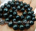 "Hot free deliver goods wholesale new Charming!9-10MM Black Natural Pearl Necklace 18"" wj379"