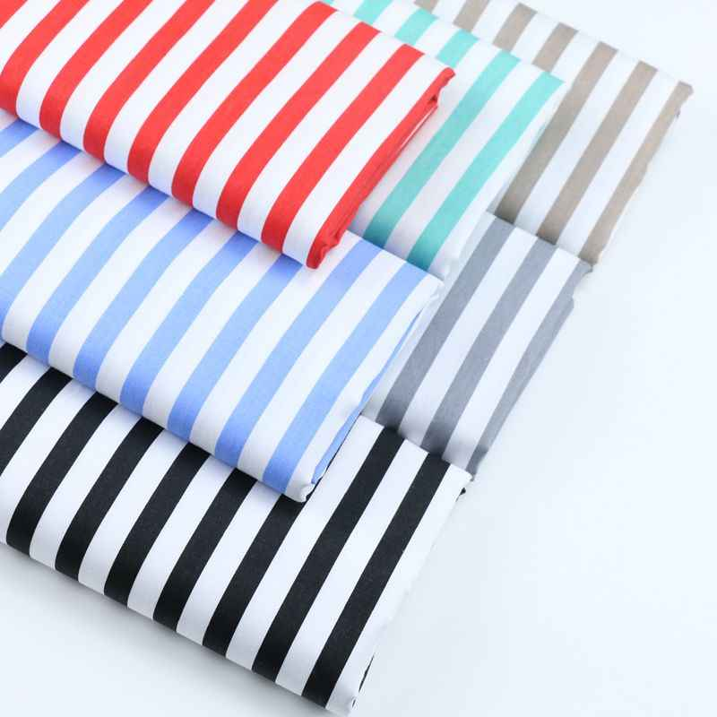 160CM*50CM cotton cloth blue grey red khaki black 1 cm stripe fabric for DIY bedding apparel patchwork home decoration tissue