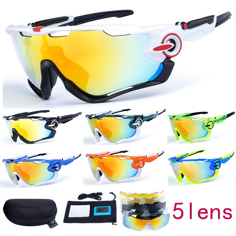Men&Women 5 Lens Polarized Cycling Sunglasses UV400 Cycling Bike Glasses Outdoor Sports Glasses Bicycle Goggles For MTB Fishing kallo 99151 outdoor sports grey lens uv400 polarized sunglasses black