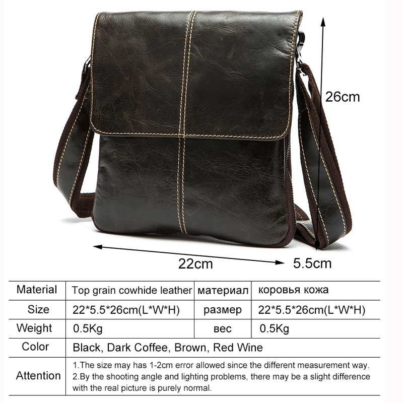MVA Messenger Bag Mannen Schoudertas Echt leer Kleine mannen - Handtassen - Foto 6