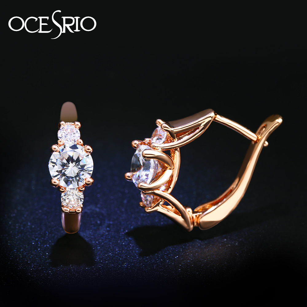 41845f4cf Detail Feedback Questions about OCESRIO Cubic Zircon Rose Gold Earrings 585  Gold Crystal CZ Round Stud Earrings for Women 585 Gold Jewelry Accessories  ers ...