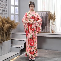 New Japanese Elegant Kimono Dress Japan Style Pink Long Robe Female Yukata Cosplay Costume Japanese Traditional Clothes DQL1416