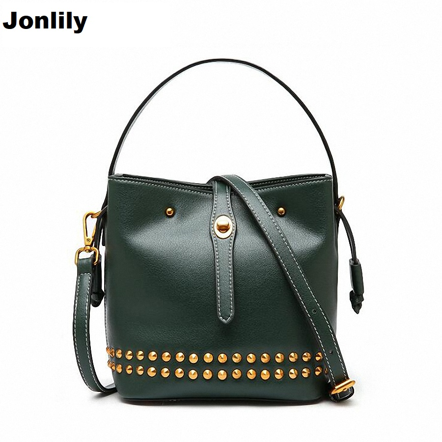 High Quality PU Leather Women Crossbody Bags Fashion Rivet Design Women Shoulder Bags Shoulder Strap Ladies Handbag 2018 SLI-411