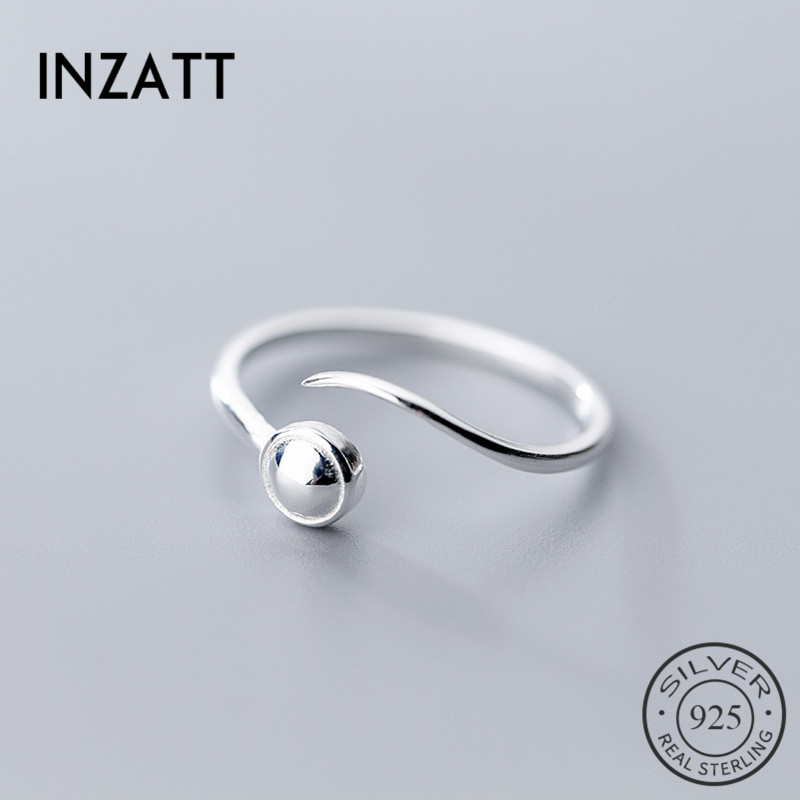 INZATT Genuine 925 Sterling Silver Minimalist Adjustable Ring For Women Party Big Light Bead Personalized Lines Fashion Jewelry