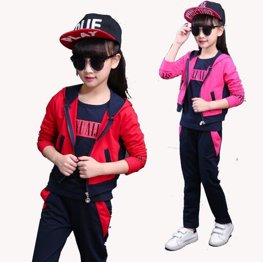 3pcs Teenage Girls Clothing Sets Spring Autumn Children Long Sleeve Sports Suit Kids Clothes Tracksuit Sportswear 10 12 14 Years children s clothing autumn girls suit 2015 new kids long sleeve sports casual sets big girls cartoon princess spring 3 piece