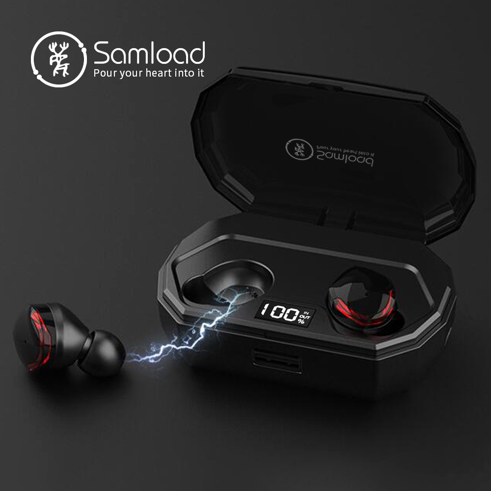 Samload Bluetooth 5 0 Headphones Wireless Earbuds 3D HIFI Sound in ear Earbuds with 2000mAh charging