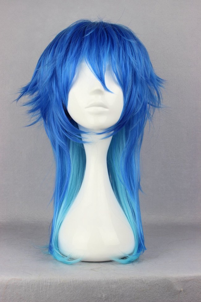 Dramatical Murder DMMD Seragaki Aoba Wig Ombre Blue Heat Resistant Synthetic Hair Cosplay Wigs + Wig Cap