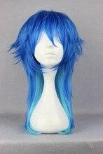Dramatical Murder Peluca de cabello sintético resistente al calor DMMD Seragaki Aoba, color azul degradado, con gorro para peluca