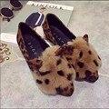Moda otoño invierno zapatos de las mujeres de pelo de conejo orejas superestrella de Leopardo de fondo plano zapatos casuales de color gris negro