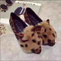 fashion winter autumn women shoes rabbit hair ears flat-bottomed Leopard casual shoes gray black superstar