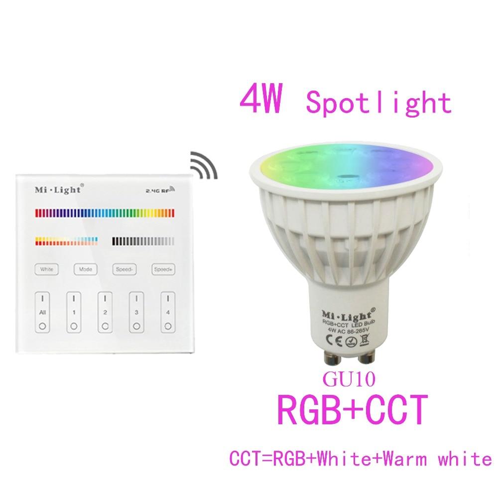 GU10 4W Mi.light RGB+Warm White+White Dimmable Led Bulb AC85-265V+2.4G B4/T4 RF Wall-Mount Touch Panel Remote 5pcs e27 led bulb 2w 4w 6w vintage cold white warm white edison lamp g45 led filament decorative bulb ac 220v 240v