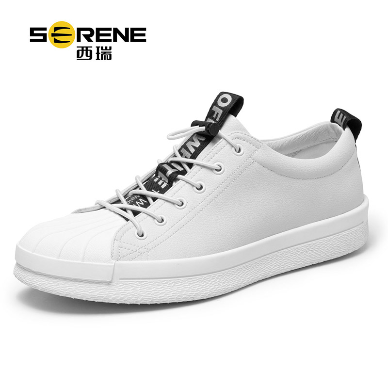 Leather Sports Casual Shoes For Teenager Boys Rubber Toe Lace-up Casual Shoes Breathable Men Shoes Black White Spring Footwear casual color block lace up breathable sports shoes for men