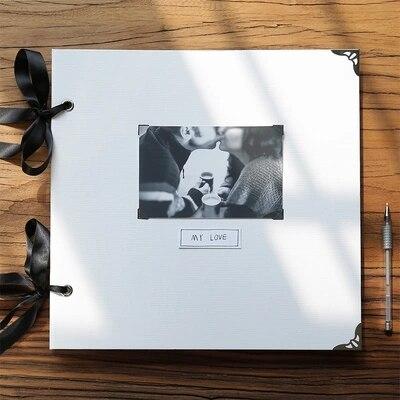 Large 33 32 5cm Square Blank Diy Insert Album Black Inner Page Family Album Retro Creative