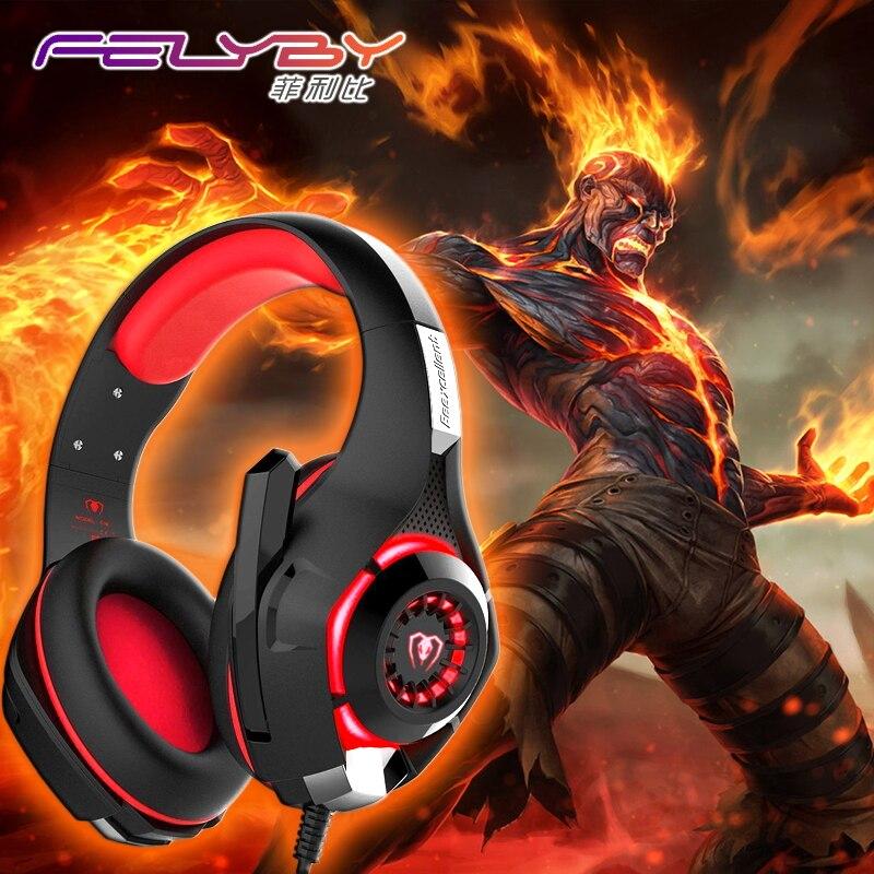 Neue gaming kopfhörer für eine handy PS4/PSP/PC 3,5mm Verdrahtete Kopfhörer mit Mikrofon Led-lampe Noise Cancelling-kopfhörer
