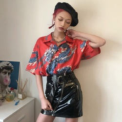 2018 Summer Women Tops Harajuku Blouse Women Dragon Print Short Sleeve Blouses Shirts Female Streetwear kz022 3