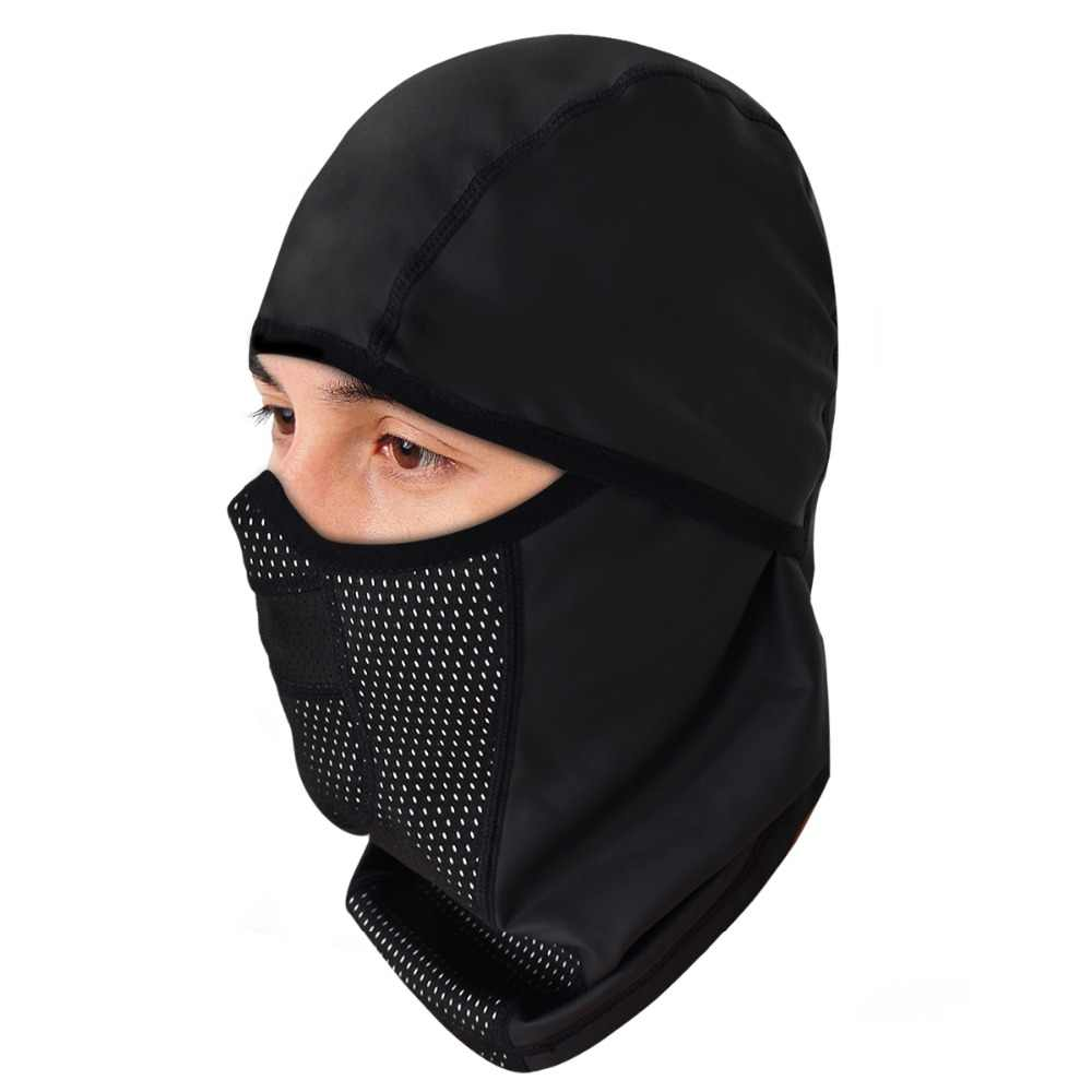 6107cbc4cf5e0 WOSAWE PU Leather Waterproof Motorcycle Bandana Thermal Thermal Warm Up  Balaclava Motocross Skiing Face Mask Neck Scarf Caps