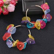 Badu Bohemian Colorful Hoop Earrings for Women Fashion Cute Gold Big Round Geometric Yarn Flower Trendy Eardrop Wedding Jewelry