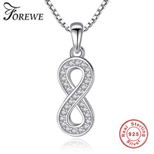 Forewe AAA Brilliant Austrian CZ Infinity 8 Pendant Necklaces For Women 925 Silver Necklace Wedding Jewelry(China)