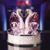 Free ship 1 Pair Crystal Glass Animal Swan Figurines Paperweight Feng Shui Crafts Figurine Art Collection For Home Wedding Decor