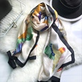 Luna & Дельфин Мода Бандана Роскошные Scarve Женщины Марка Шелковый Шарф От Руки Эскизов Птиц Печатных Женщин Шаль 180X90 СМ Хиджаб