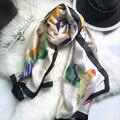 Luna & Dolphin Moda Bandana Scarve Luxo Mulheres Marca Lenço De Seda Mão Livre Esboçar Aves Impresso Mulheres Xale 180X90 CM Hijab
