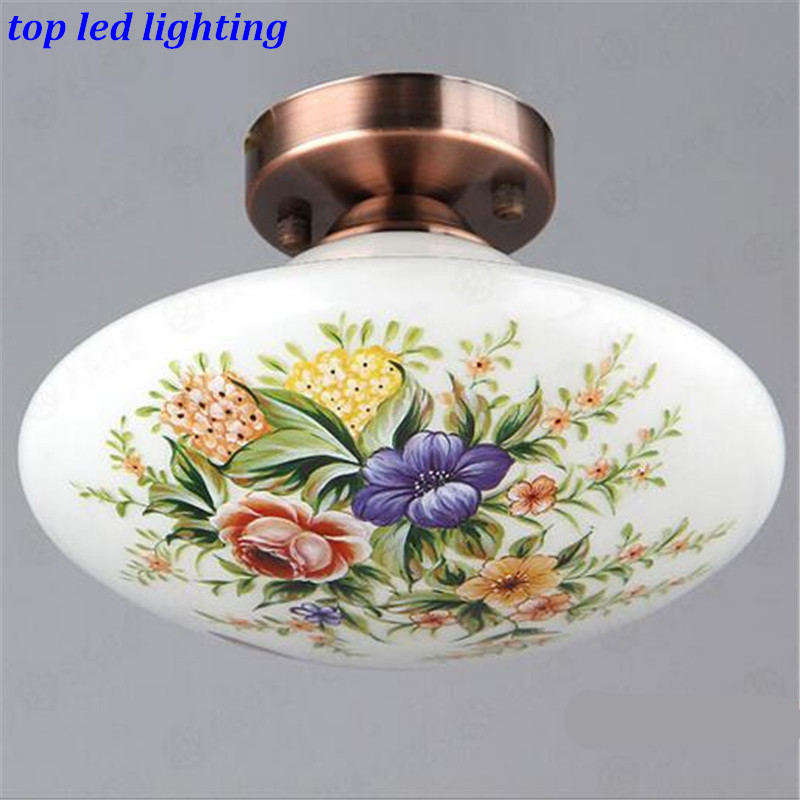 ФОТО Vintage Creative Glass Ceiling Light for Aisle Surface Mounted Led E27 Lamps Dia 23cm AC 80 265V 1146