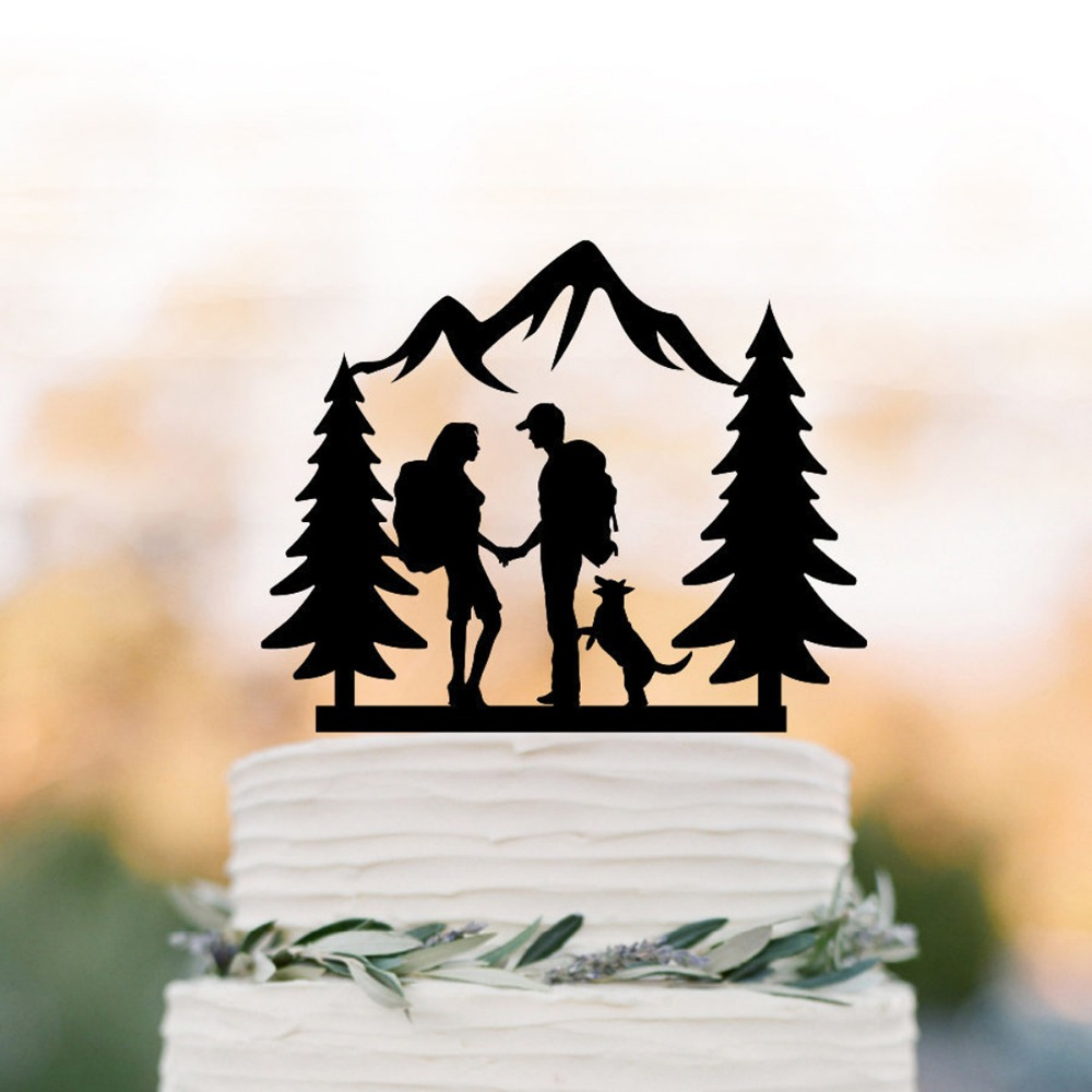 Hiking Couple wedding cake topper, Bride and Groom with dog and trees Backpacking outdoor wedding Mountain Wedding Cake TopperHiking Couple wedding cake topper, Bride and Groom with dog and trees Backpacking outdoor wedding Mountain Wedding Cake Topper