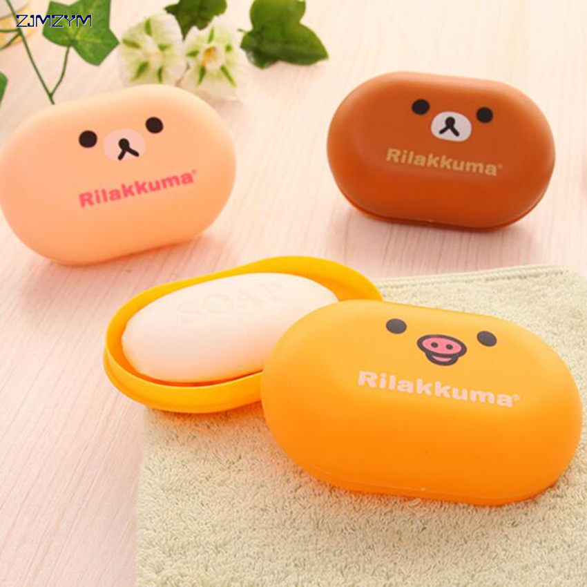 1pcs Lovely Bear Pattern Home Travel Soap Dishes Waterproof Leakproof Soap Holder Soap Box With Cover Bathroom Set