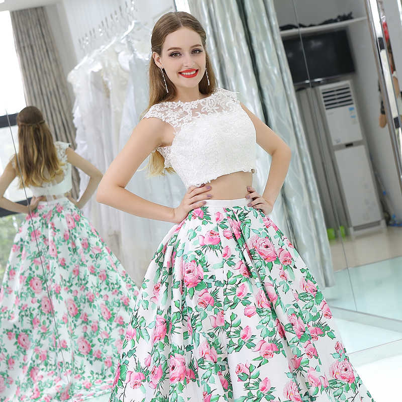 34d969ffc4eec JaneVini White 2 Pieces Girls Prom Dress Floral Skirt Lace Top Bridesmaid  Dresses Long Open Back Satin Women Formal Party Gowns